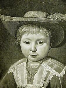 Cuyp-DUTCH-BOY-Cross-on-Neck-amp-FEATHER-in-HAT-1888-Antique-Engraving-Matted