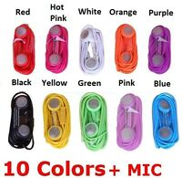 100x Colurful Headphone Earphone Wi Mic Remote For Apple Iphone 5 5s 6 Plus Ipad