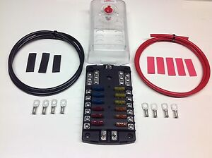 12 way blade fuse box negative bus bar cables terminals image is loading 12 way blade fuse box negative bus bar