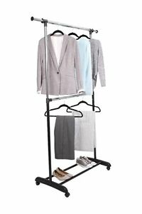 Image Is Loading Tidy Living Adjustable 2 Tier Rolling Garment Rack