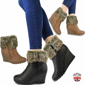 Womens Ladies Winter Fur Wedge Platform Ankle Boots Zip Fluffy Lined ... 5825b808fc