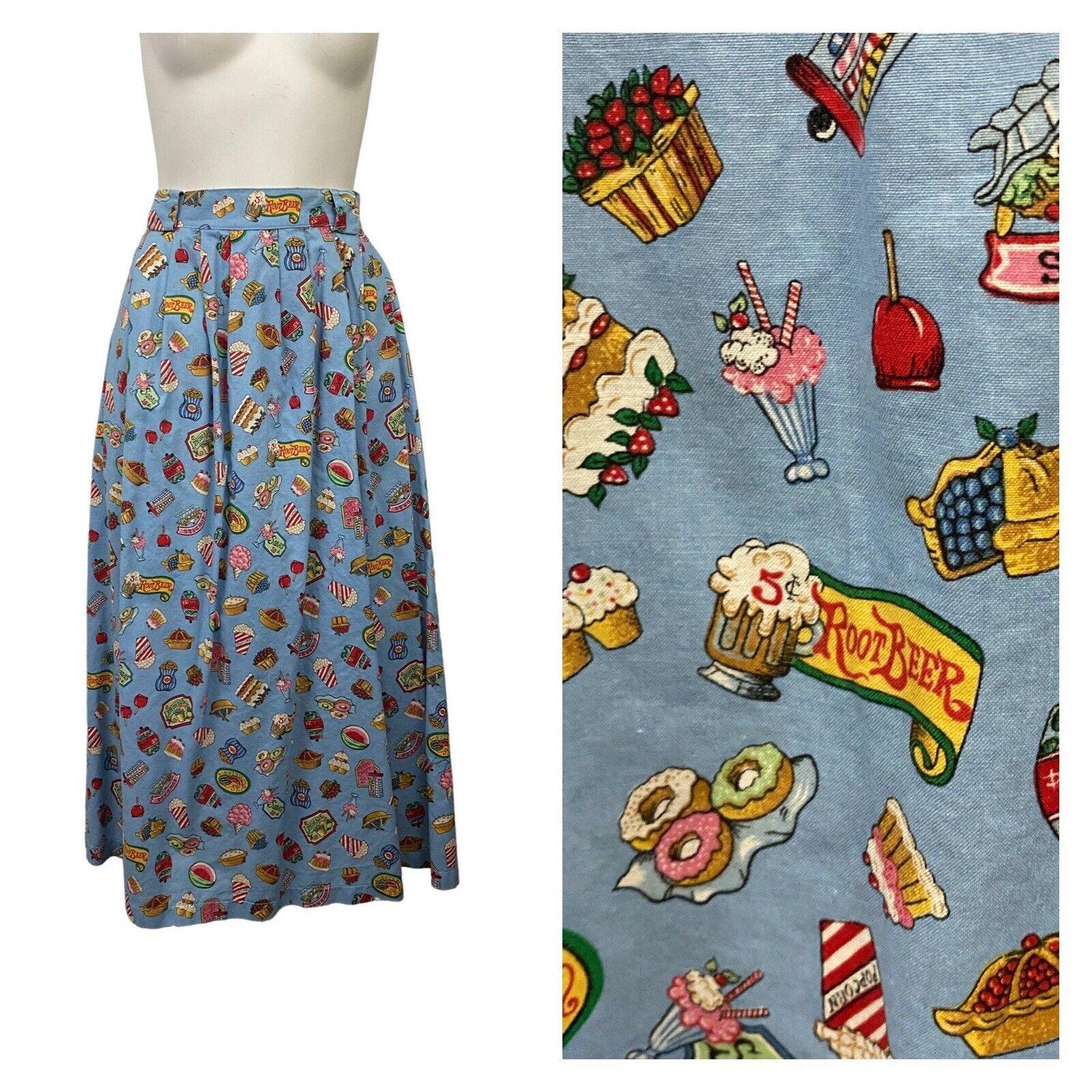 1980s Novelty Print Skirt / Snack Dessert Print F… - image 1