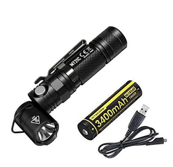 NITECORE MT21C 1000 Lumen 90 Degree Adjustable Flashlight w NL1834R & USB Cord