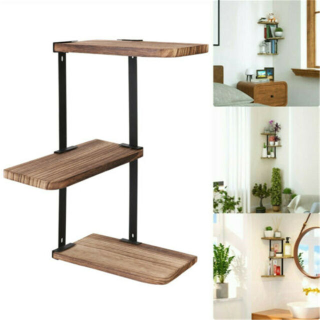 Rustic Corner Shelf Wall Mount 3 Tier DIY Wood Floating Shelves Adjustable Rack