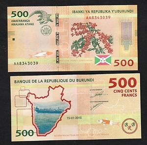 Burundi 500 Francs 2015 P-50 New Design Banknotes UNC
