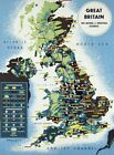 "Vintage Poster CANVAS PRINT Map of Great Britian natural resources 8""X 10"""