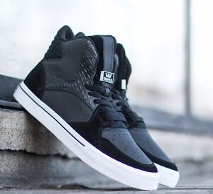 71fcfd25a000 NIB SUPRA Vaider Black White Leather Suede Skate Shoe Size 10 LAST1 ...