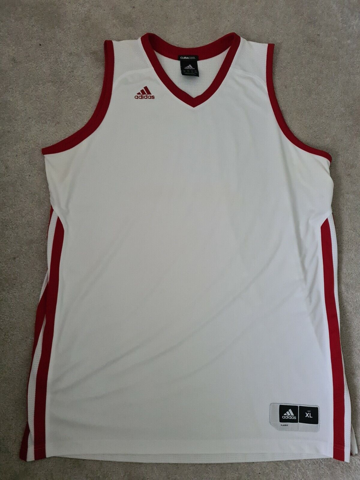 Mens White And Red Adidas Climacool Size Xl Tank Top Sleeveless Gym Active