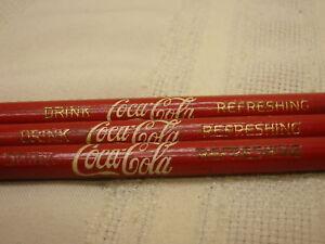 3-Vintage-Coca-Cola-Pencils-Drink-Coca-Cola-Refeshing-Red