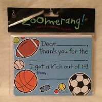Zoomerang Sports 8 Count Thank You & Envelope Pack