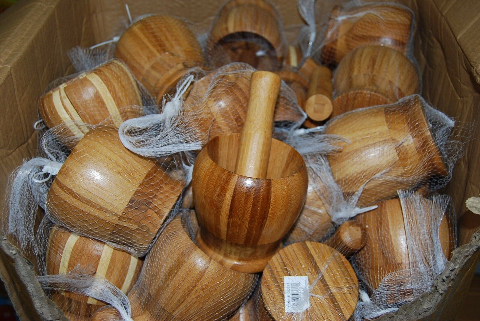 Lot Of 24pc Wooden Mortar and Pestle  Wholesale Free Shipping