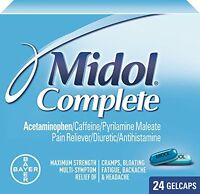 5 Pack - Midol Menstrual Complete Gelcaps 24 Gelcaps Each on sale