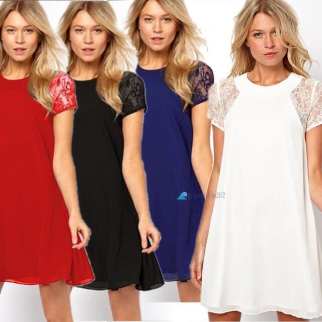 New Women Fashion Swing Chiffon Lace Short Sleeve One-Piece Shift Mini Dress PQ