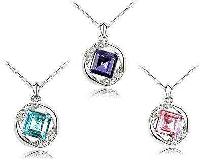Delicate Womens 18K White Gold Plated Square Shape Crystal Necklace C59-62
