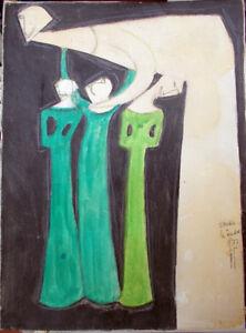 MARIO-GOMBOLI-Quadro-a-Olio-su-tela-STUDIO-PER-LA-MADRE-1977-MG-Arte-Moderna