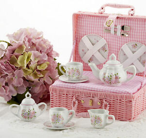 Delton Childrens Porcelain Tea Set For 2 In Wicker Basket Country