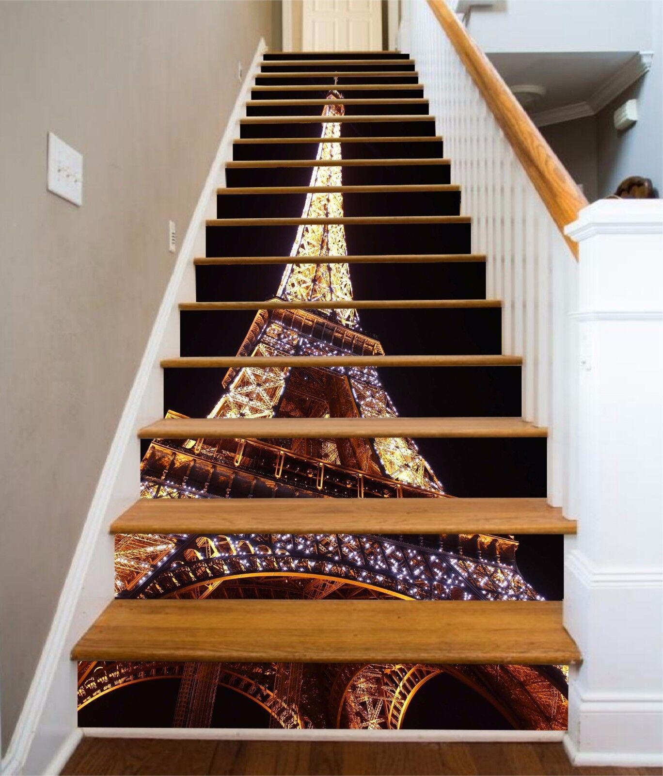 3D Nacht Paris 951 Stair Risers Dekoration Fototapete Vinyl Aufkleber Tapete DE