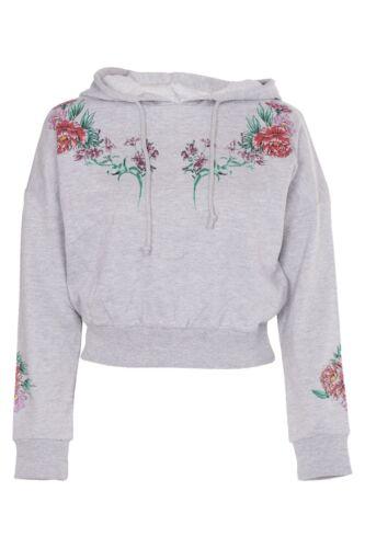 Womens Crop Hoodie Ladies Floral Print Sweatshirt Cropped Top Pullover Jumper