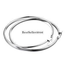 Hypoallergenic Stainless Steel Big Circle Round Hoop Loop Earrings Silver Tone