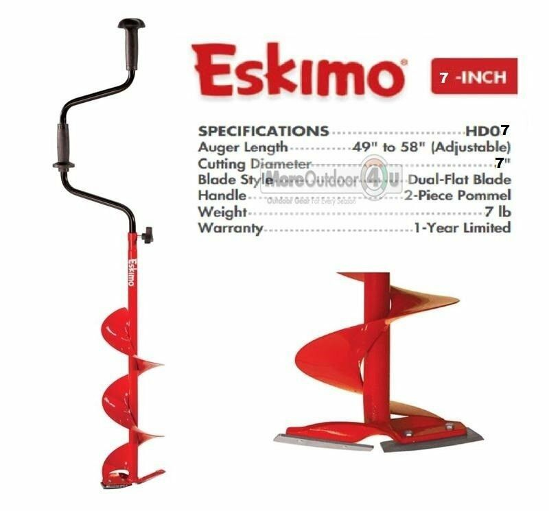 HD07 New  Eskimo Adjustable Length 7  Standard Hand Ice Auger Dual Flat Blades  buy cheap new