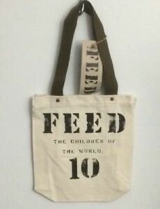 NWT-FEED-10-Ivory-amp-Army-Green-Cotton-Open-Tote-Bag