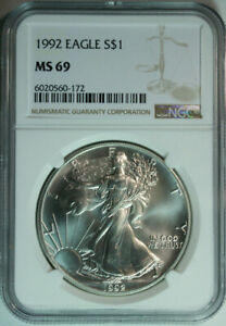1992-American-Eagle-Dollar-999-Pure-Silver-NGC-MS69