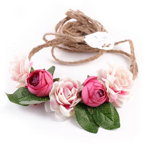 Femmes Fille Fleur Bande de cheveux Bandeau Couronne Fête Mariage Plage élégant