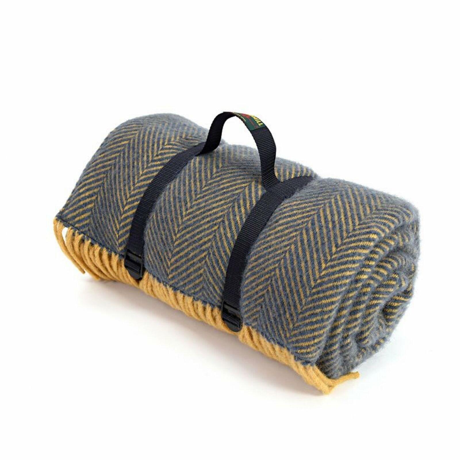 Tweedmill Polo Picnic Tappeto Con Supporto Impermeabile-Spina di Pesce Blu scuro Senape