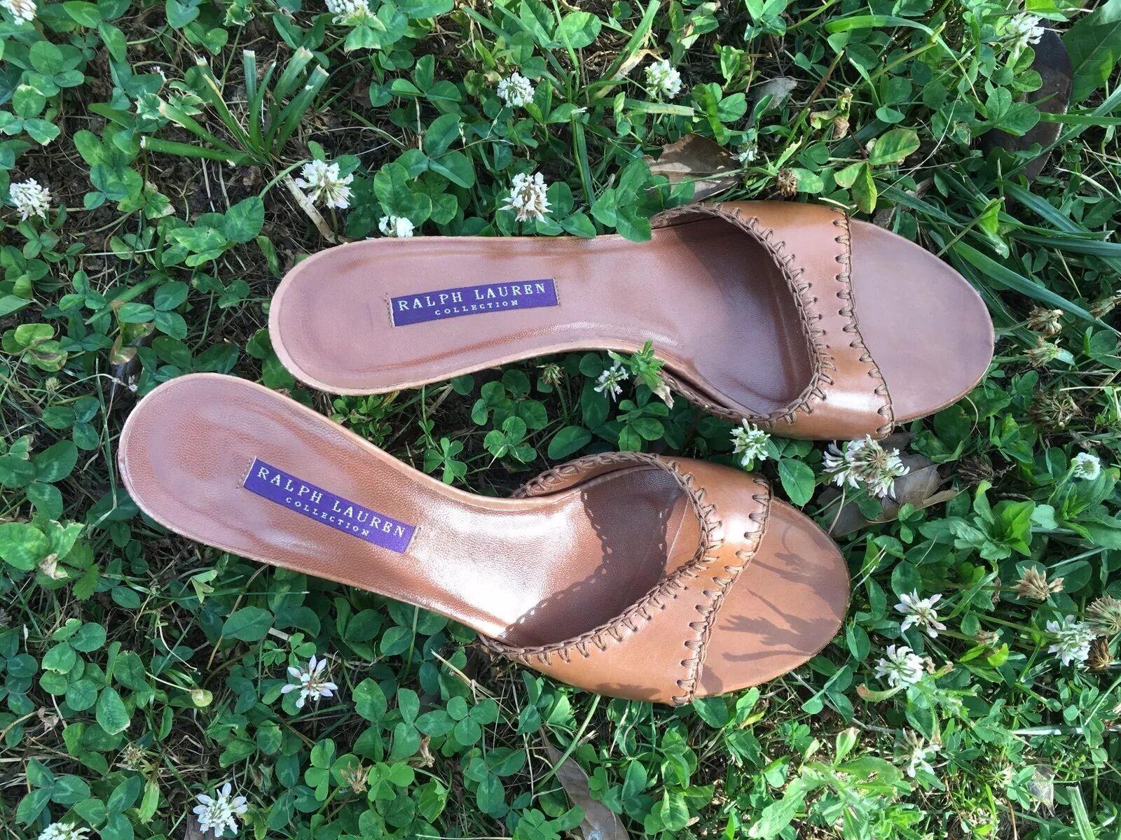 Ralph Lauren Heel Collection Sandals Womens Heel Lauren Leather Slide Italy f9e82d