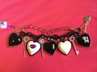 Betsey Johnson Vintage Hey Valentine Key Lips Huge Lucite Puffy Heart Bracelet