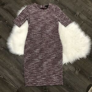 NWT-Banana-Republic-Womens-Dress-Sz-6-Ponte-Knit-Space-Dye-Textured-Knee-Length