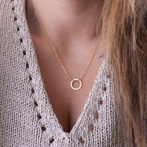 Damen-Simple-Mode-Thin-Chain-Halsketten-Anhaenger-Forever-Geschenke-Circle-C2V9