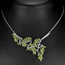925 plata esterlina genuino Peridot Natural Verde Manzana Collar 18 pulgadas