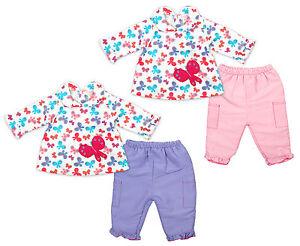 Bebe-ninas-mariposas-estampado-Top-de-manga-larga-amp-Volante-Pantalones