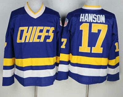 Hanson Charlestown Chiefs Jersey #17 Slap Shot Movie Hockey Stitched Blue