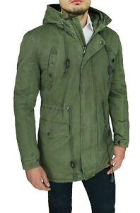 Giaccone-Parka-uomo-casual-verde-militare-giacca-Invernale-con-pelliccia-interna