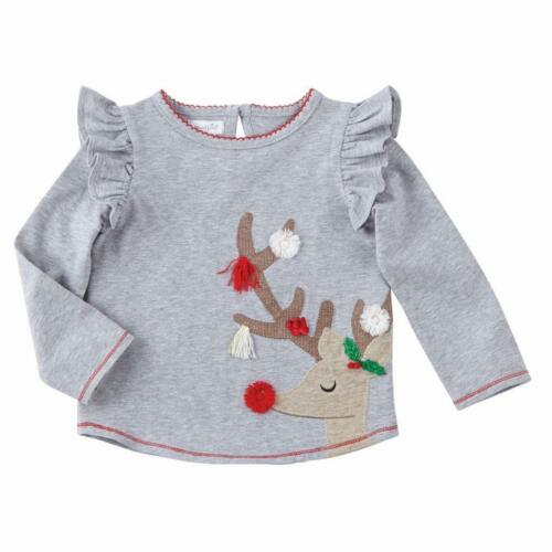 Mud Pie GIrls Very Merry Christmas Tunic Tee Shirt Reindeer Applique