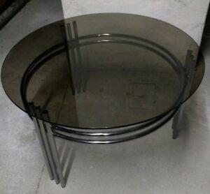 Glastisch Chromgestell Rauchglas 70er Tisch Couchtisch Silber