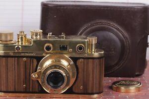 LEICA D.R.P Vintage Film Camera +Lens Elmar f3.5/50mm GOLD FED Zorki Copy