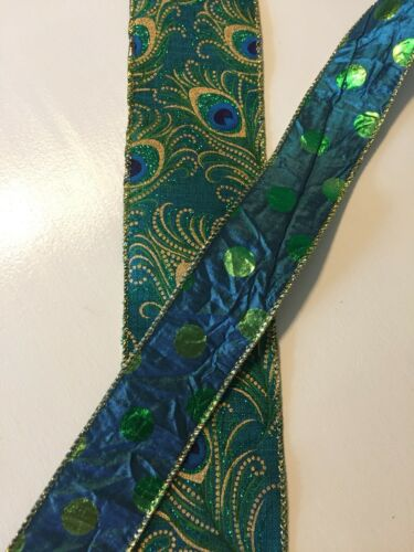 """Teal Blue Green Dots Crinkle WIRE EDGED RIBBON 1-1//2/"""" x 5 Yards"""