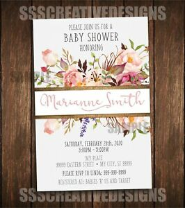 Its a girl flowers baby shower girl invitation card vintage summer image is loading it 039 s a girl flowers baby shower girl stopboris Choice Image