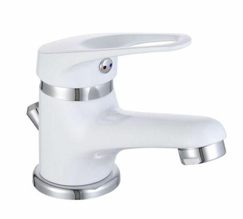 Bad Waschbecken Armatur weiß Einhandmischer Badarmatur Wasserhahn Ablaufgarnitur