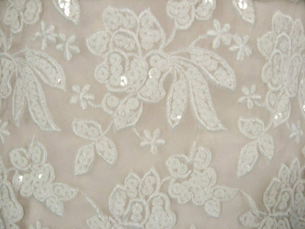 ARNOLD SCAASI White Floral Wedding Gown with Sequ… - image 7