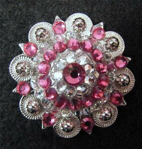 """4-1.5"""" BERRY Silver Concho PINK Bling for Headstall spur Chaps Saddle Pad Craft"""