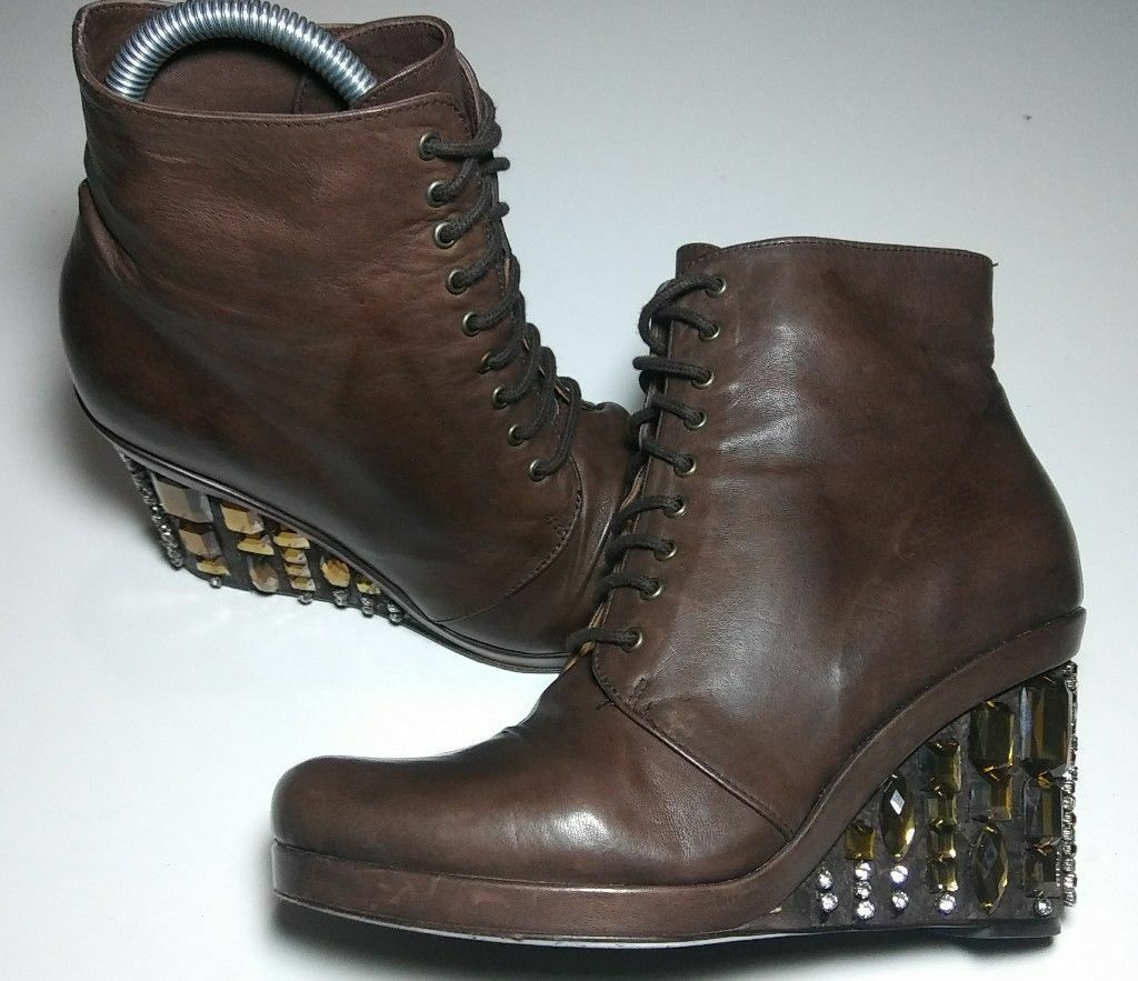 Coclico Womens Brown Leather Platform Wedge Bootie Ankle Boots 36 FAST SHIPPING