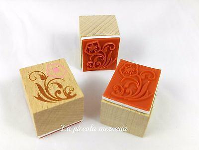Timbro timbrino gomma su legno fiore 25 mm scrapbooking biglietti