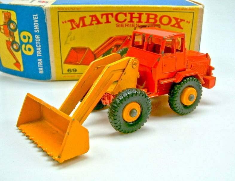 MATCHBOX 69b Hatra tractor shovel 2 en couleur Orange & jaune extrêmement rare