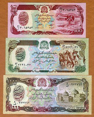 1,000 AFGHANIS 1979 Set of 4 Banknotes 4 PCS UNC AFGHANISTAN 50 100 500