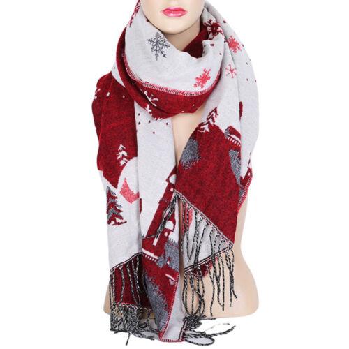 Ladies Fashion Winter Warm Double-Sided Christmas Snowflake Scarf Shawl LA