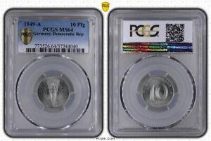 GDR 10 Pfennig 1949 A Fresh Mint Condition PCGS MS64 (37113)